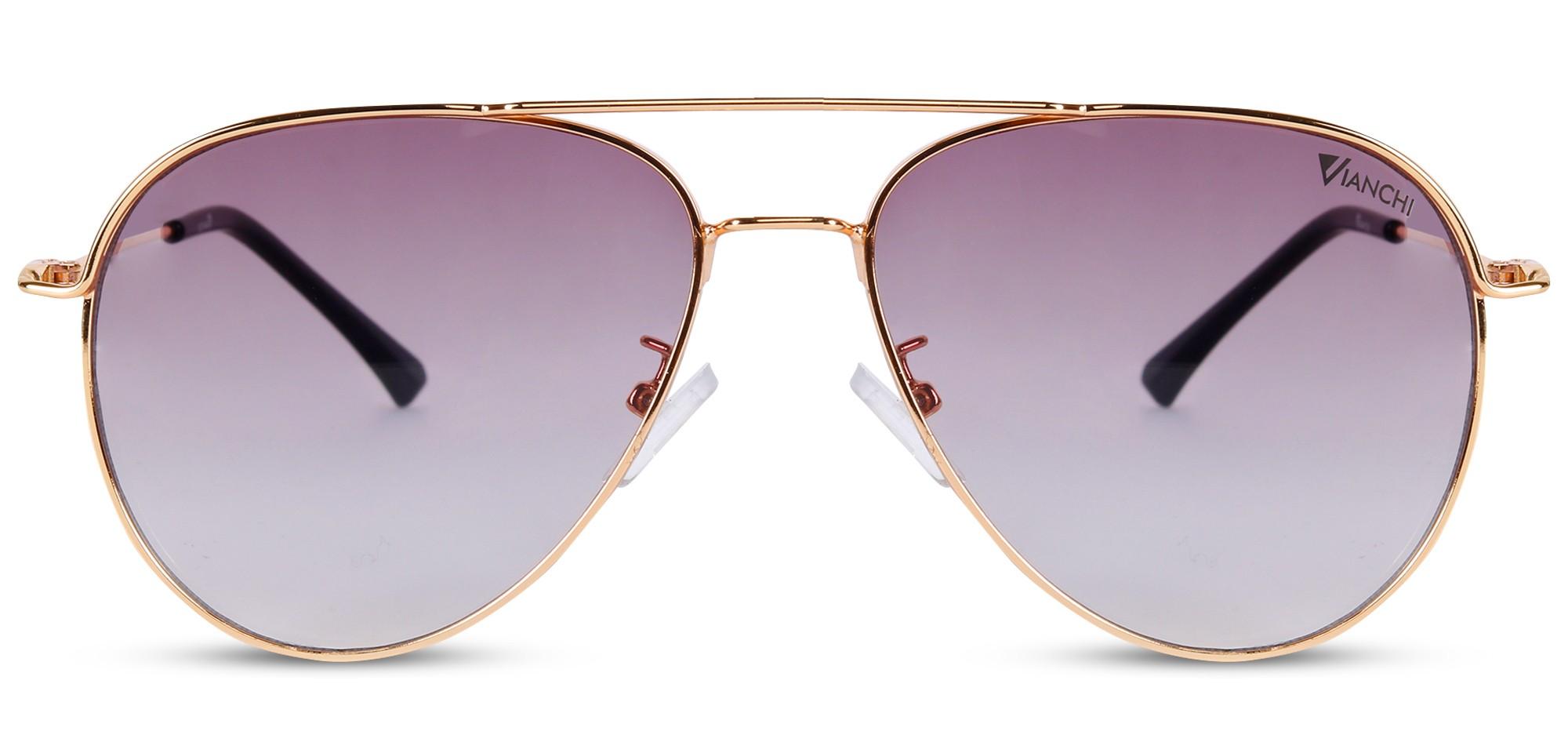 Metal Aviator Golden Rim Grey-Pink Inside Sunglass