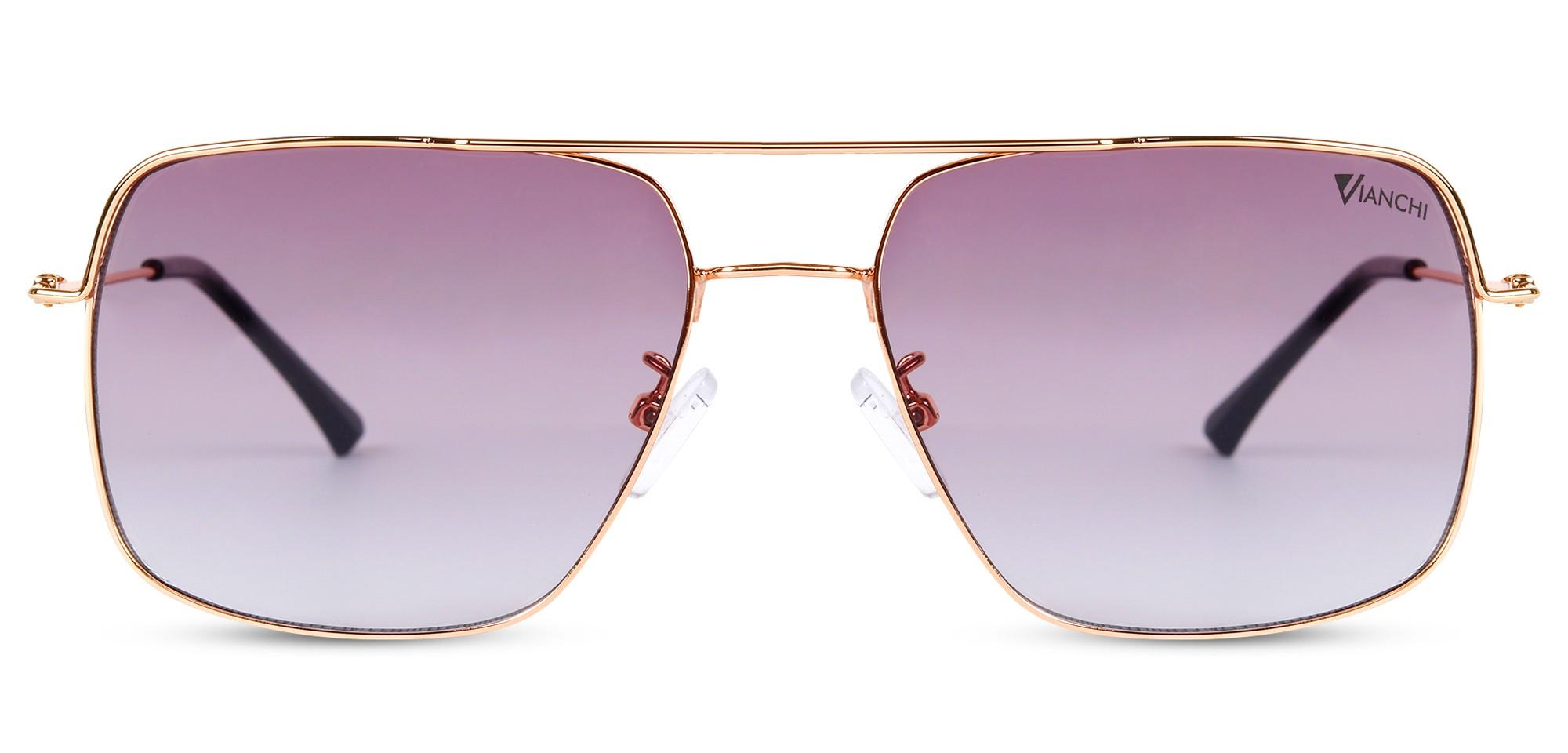 Metal Square Golden Rim Grey-Pink Gradel Inside Sunglass