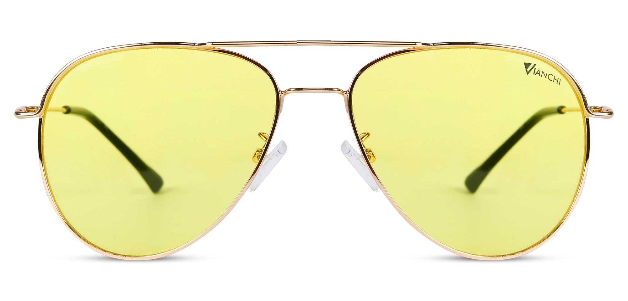 Matel Aviator Golden Rim Yellow Inside Sunglass