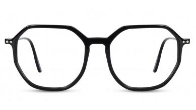 Acetate Rectangle Shine Black Eyeglass (Small)