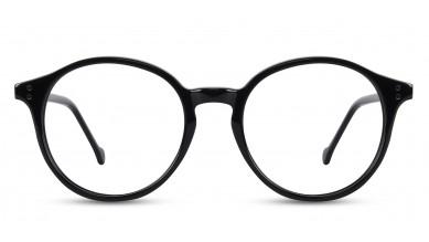 Acetate Round Shine Black Eyeglass (Small)