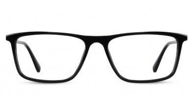 Acetate Rectangle Shine Black Eyeglass (Large)