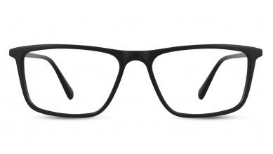 Acetate Rectangle Matte Black Eyeglass (Large)