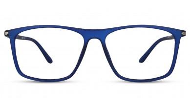 TR90 Rectangle Matte Blue Eyeglass (Large) Including Blue Cut Lenses Plano