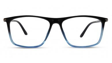 TR90 Rectangle Black-Blue Eyeglass (Large) Including Blue Cut Lenses Plano