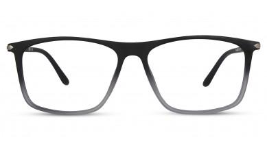 TR90 Rectangle Black-Grey Eyeglass (Large) Including Blue Cut Lenses Plano