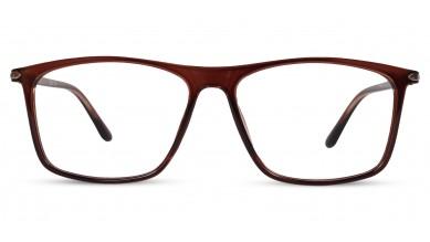 TR90 Rectangle Brown-Transparent Eyeglass (Large) Including Blue Cut Lenses Plano