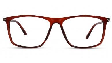 TR90 Rectangle Matte-Brown Eyeglass (Large) Including Blue Cut Lenses Plano
