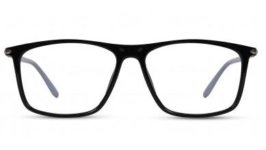 TR90 Rectangle Shine Black Eyeglass (Large) Including Blue Cut Lenses Plano