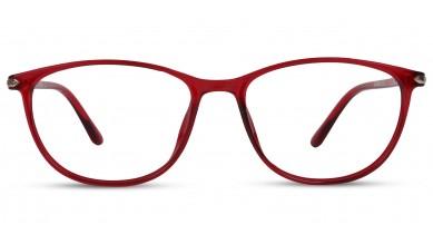 TR90 Oval Red Eyeglass (Medium) Including Blue Cut Lenses Plano
