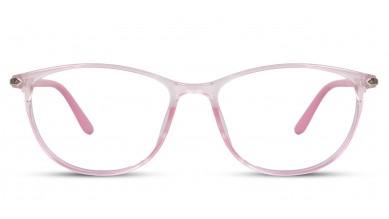 TR90 Oval Pink-Transparent Eyeglass (Medium) Including Blue Cut Lenses Plano