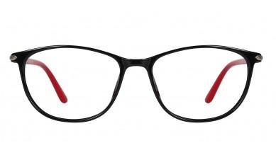 TR90 Oval Black-Red Eyeglass (Medium) Including Blue Cut Lenses Plano