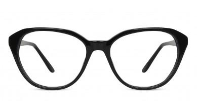 Acetate Cat-Eye Shine Black Eyeglass (Large)