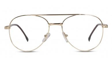 Metal Rectangle Golden Brown Side Eyeglass (Large)