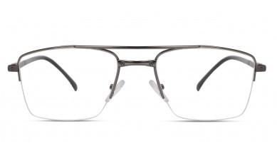 Metal Rectangle Grey Black Side Eyeglass (Large)