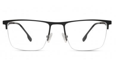 Metal Rectangle Matte Black Golden Eyeglass (Large)