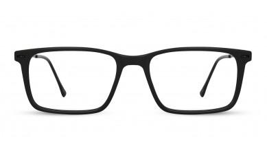 Acetate Rectangle Matte Black Eyeglass (Medium)