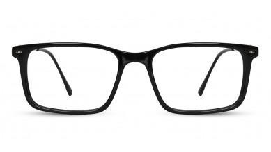 Acetate Rectangle Shine Black Eyeglass (Medium)