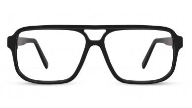 Acetate Rectangle Matte Black Eyeglass (X-Large)