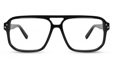 Acetate Rectangle Shine Black Eyeglass (X-Large)