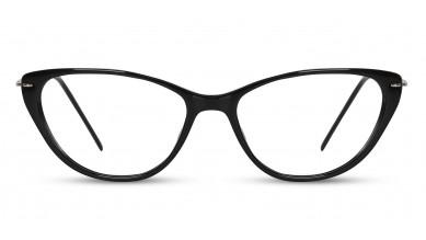 Acetate Cat-Eye Shine Black Eyeglass (Medium)