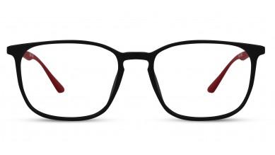 TR90 Rectangle Black-Red Eyeglass (Medium) Including Blue Cut Lenses Plano