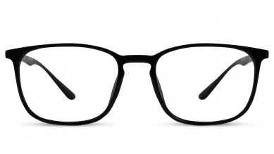 TR90 Rectangle Shine Black Eyeglass (Medium) Including Blue Cut Lenses Plano