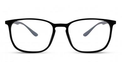 TR90 Rectangle Black-Grey Eyeglass (Medium) Including Blue Cut Lenses Plano
