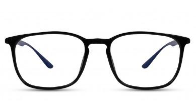 TR90 Rectangle Black-Blue Eyeglass (Medium) Including Blue Cut Lenses Plano