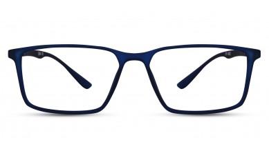 TR90 Rectangle Matte Blue Eyeglass (Medium) Including Blue Cut Lenses Plano
