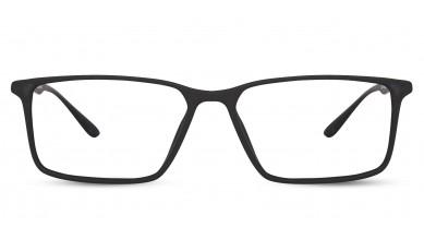 TR90 Rectangle Matte Black Eyeglass (Medium) Including Blue Cut Lenses Plano