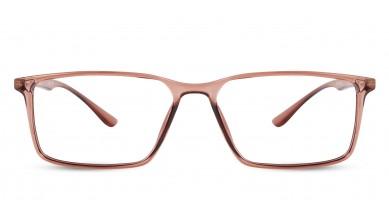TR90 Rectangle Brown-Transparent Eyeglass (Medium) Including Blue Cut Lenses Plano