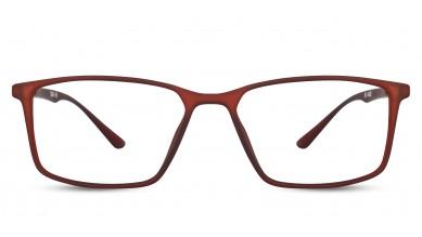 TR90 Rectangle Matte Brown Eyeglass (Medium) Including Blue Cut Lenses Plano
