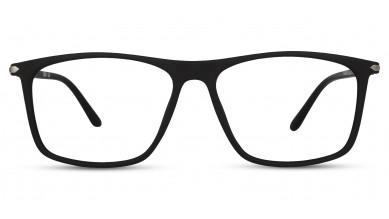 TR90 Rectangle Matte Black Eyeglass (Large) Including Blue Cut Lenses Plano
